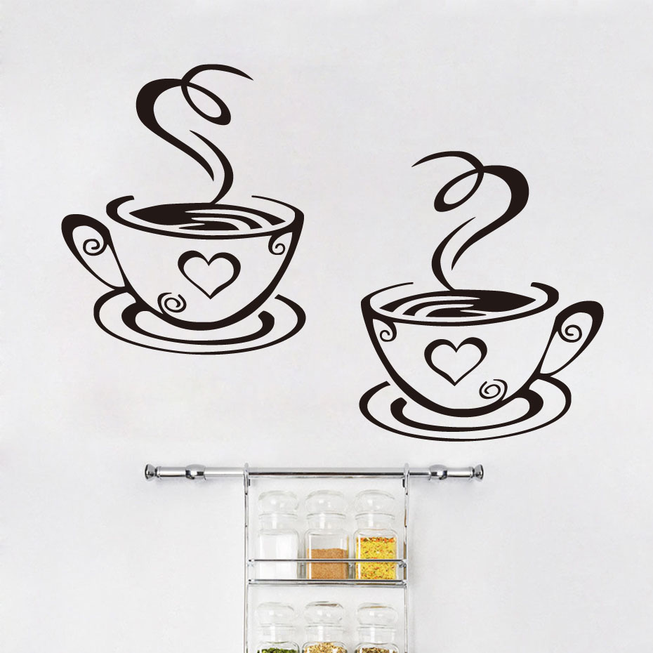 DCTOP Two Cups Of Coffee Vinyl Art Wall Stickers Home Decor Creative Design Wall Decals DIY Decoration For Kitchen(China (Mainland))