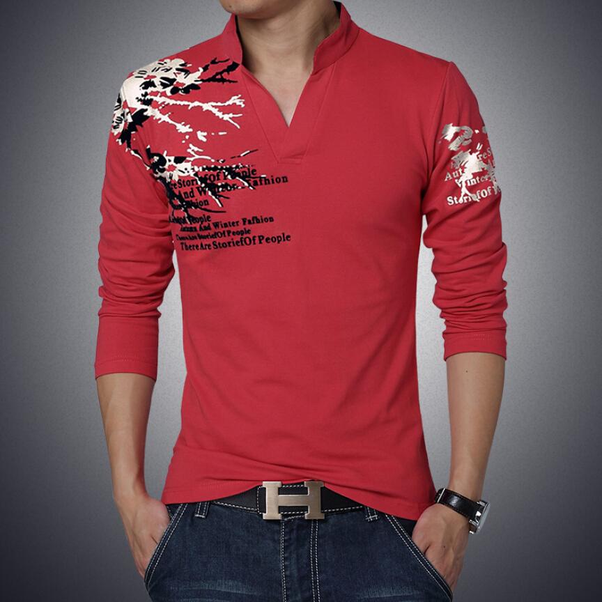2015 New Brand T Shirt Men Fashion Print Stand Collar Long