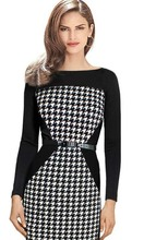 vestidos 2015 Women Summer Elegant Belted Tartan Patchwork Tunic Work Business Casual Party Bodycon Pencil Sheath Dress