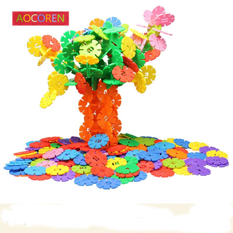 Aocoren 200 pcs 4.3cm Snow Snowflake Building Blocks Toy Bricks DIY Assembling Early Educational Learning Classic Kids Toys(China (Mainland))