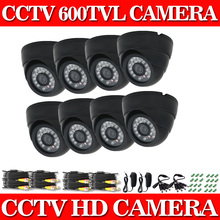 600TVL Security Dome Camera 8pcs/lot 24pcs LEDs Weatherproof indoor 65ft Night Vision CCTV Camera System Video Surveillance Kit