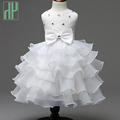 Size 0 8Y summer girls clothes Flower Bow Formal Party Ball Gown Bridesmaid Wedding Children Tutu