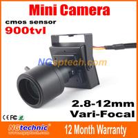 Hot sale! 900tvl vari-focal lens mini camera 2.8~12mm adjustable lens CMOS sensor home security CCTV Camera free shipping