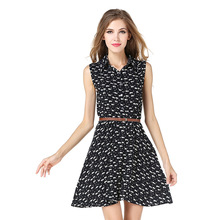 Kitty Printed New Fashion Summer Women Dress High Waist Sleeveless Turn Down Collar Vintage Sexy Party Pleated Dresses Women