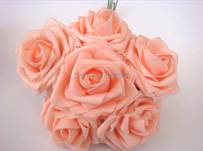 2014 New Fashion Wedding Bouquet Latex Rose Flower Head Posy Party Bridal Bridesmaid Decor(China (Mainland))