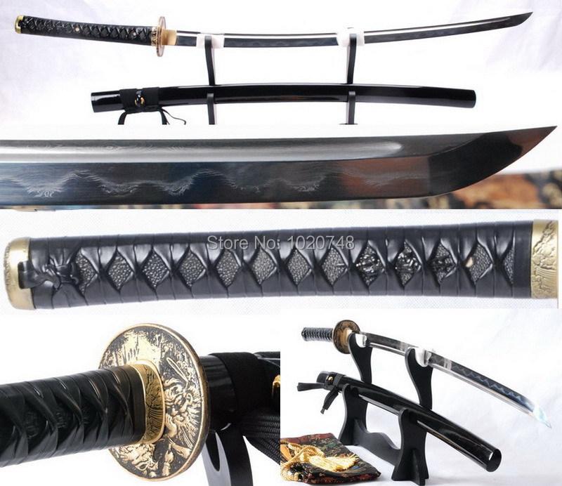 Clay Tempered Folded Steel Katana Sword Full Tang Japanese Samurai Sword Sharp Battle ready Sword Leather Tsuka #823(China (Mainland))