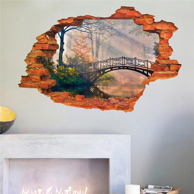 Пейзажной живописи через стены вид стикер стены мост дерево озеро гостиной диван офис исследование отличительные знаки