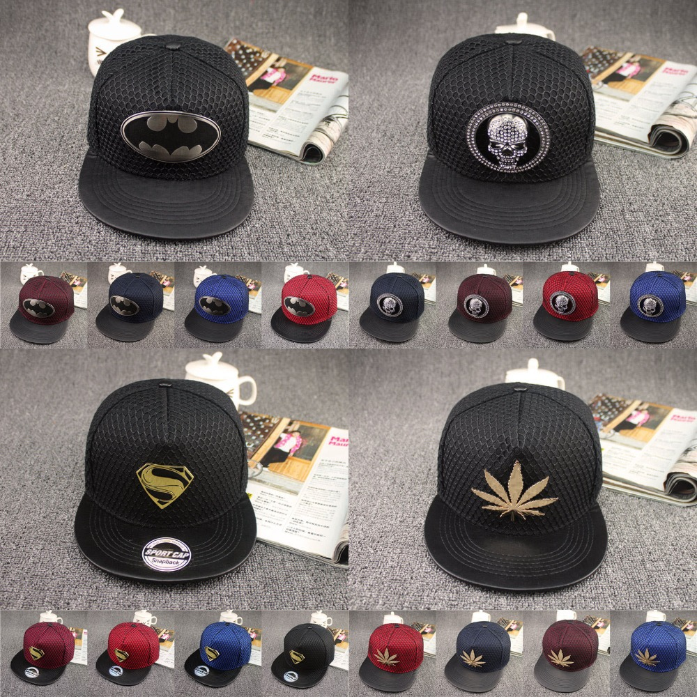 Free Shipping 2015 Fashion Superman Snapback Caps Hat Super Man Adjustable Hip Hop Casual Batman Baseball Cap Hats for Men Women(China (Mainland))