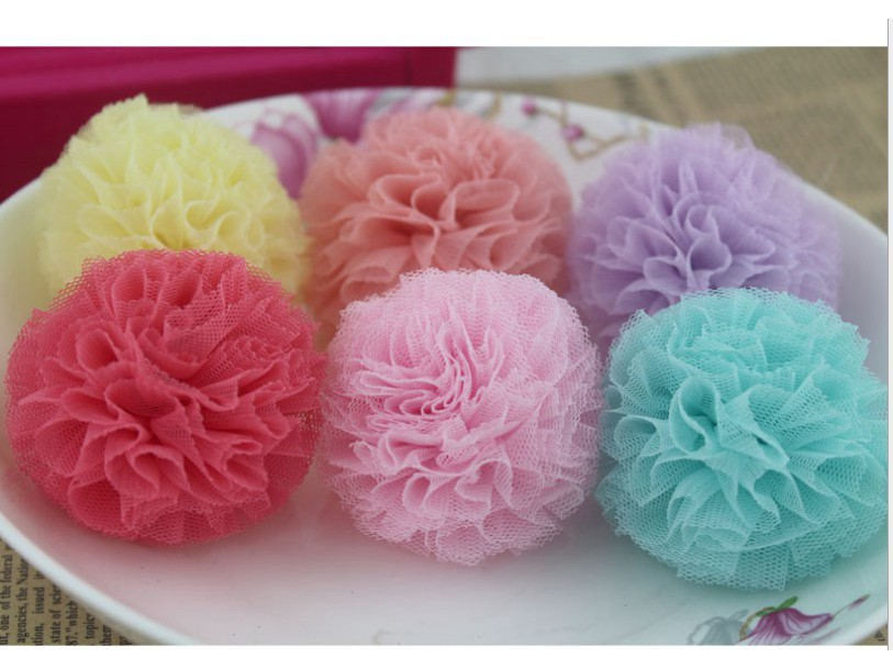5.5cm satin ball-Tulle Pom Poms Ball DIY Hair /shoe/bag/ brooch accessories 11 colors D0030L <br><br>Aliexpress