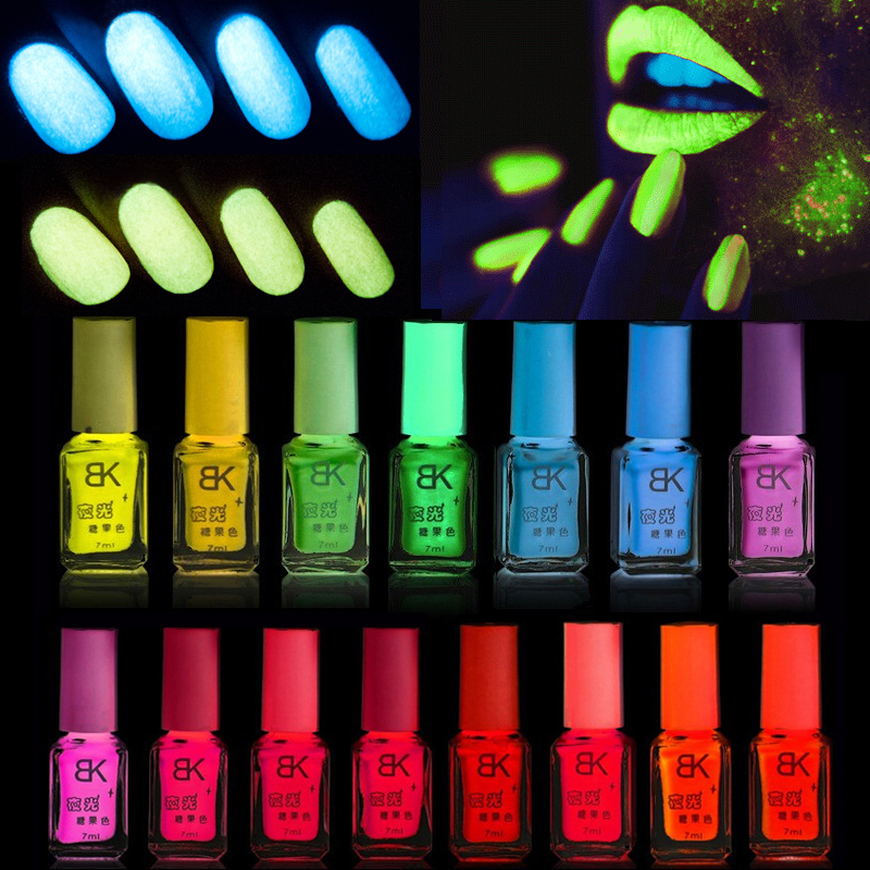 Non-toxic Fluorescent Neon Luminous Gel Oil Nail Polish Glow in Dark Nail Art Lacquer Varnish Enamel Candy 20 Colors for Choice(China (Mainland))
