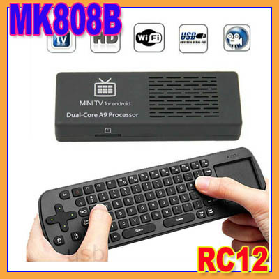 MK808B Bluetooth Android 4.1 Jelly Bean Mini PC RK3066 A9 Dual Core Stick TV Dongle MK808 Updated+Air Mouse keyboard RC12(China (Mainland))
