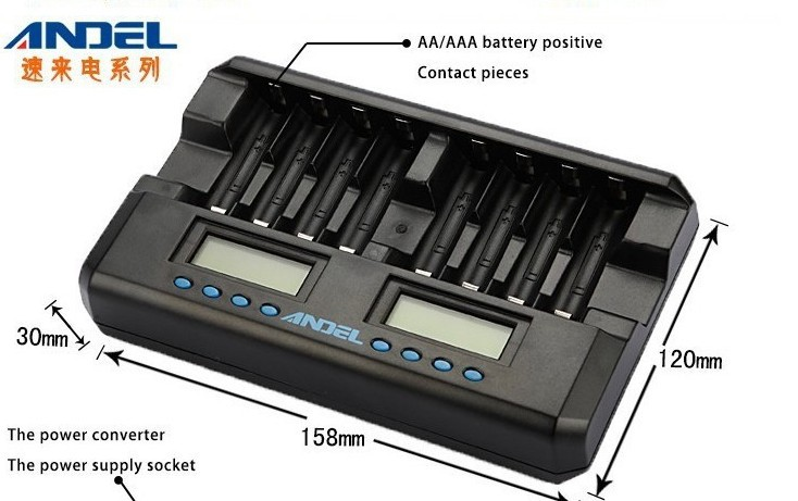 free ship 8 Bay Hi-tech AA AAA NiMH NiCD Fast Charger Smart Rechargable batteries Charger LCD Display(China (Mainland))