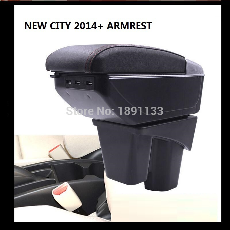 FREE SHIPMENT BIGGER SPACE&LUXURY Car armrest box central Storage content box with cup holder & LED suitable for NEW CITY 2015+(China (Mainland))