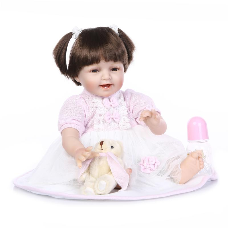 HOT 22inch Silicone Reborn Baby Doll Lifelike Reborn Babies Boneca Girl Doll Juguetes Bouquets Playmate Dolls For Christmas Kids(China (Mainland))
