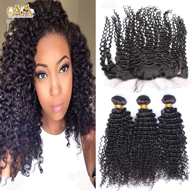 Здесь можно купить  6A Kinky Curly Lace Frontal Closure With Bundles 4Pcs Lot Unprocessed Mongolian Virgin Hair With 13x4 Frontal Bleached Knots  Волосы и аксессуары