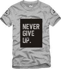 never give up Ice Bucket Challenge Jay Printed Mens Men T Shirt Camisetas Masculinas 2015 Manga Curta Camisa Masculina Tshirt