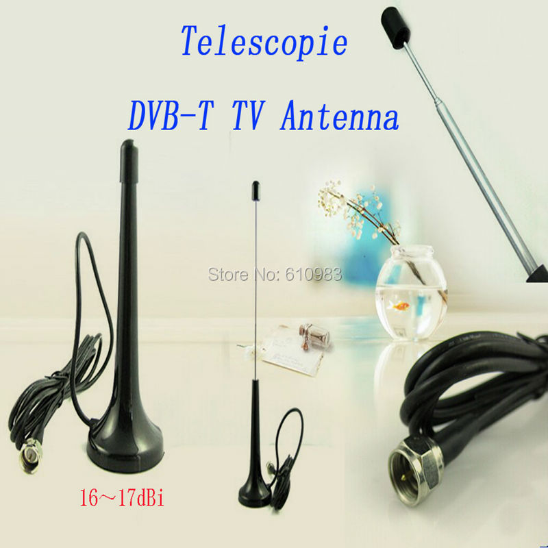 Free shipping 1pc Telescopic Digital Freeview 16dbi ~ 17dbi gains DVB-T TV HDTV Antenna Aerial F male connector Indoor antenna(China (Mainland))