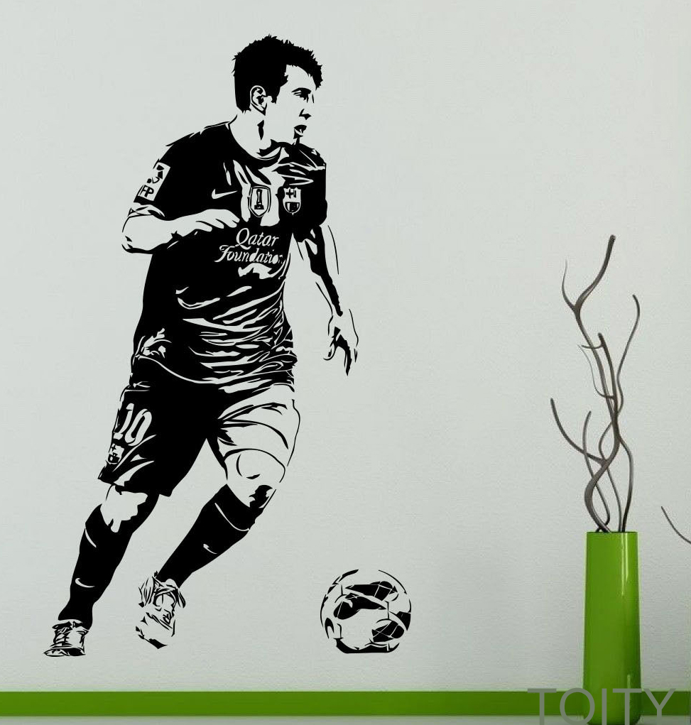 Lionel Messi Wall Sticker FAMOUS FOOTBALLER Vinyl Decal SPORT STAR Poster GYM Shop Dorm Home Bedroom Interior Decor Mural(China (Mainland))