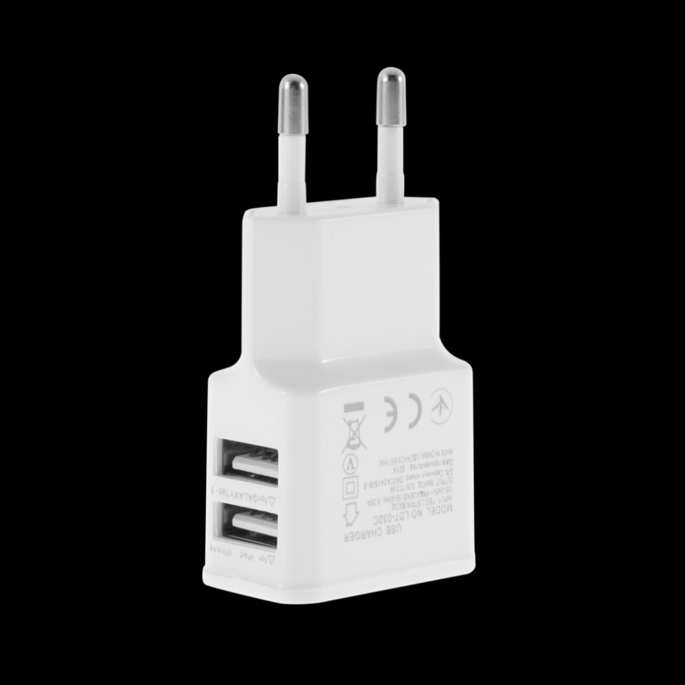 Universal 5V 2A EU plug Dual 2 Ports USB Wall Charger for Samsung for iPhone for HTC