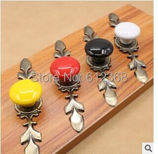 Tangpan(TM) 2pcs Ceramic Drawer Door Knobs Zine Alloy Base Pull Cupboard Hardware Kitchen Cabinet Porcelain Furniture Handle(China (Mainland))