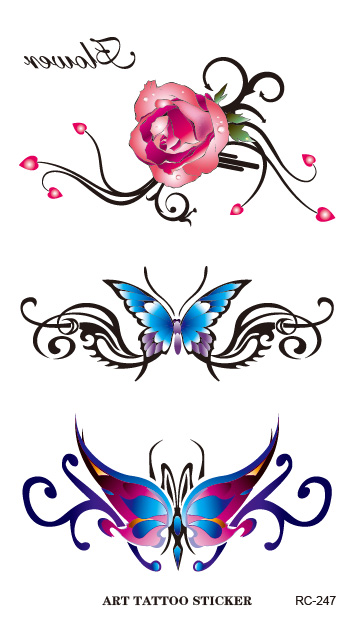 The new nail stickers waterproof custom color butterfly tattoo sticker rose pattern Body Art Fake Tattoo Foil Decal Wholesale(China (Mainland))
