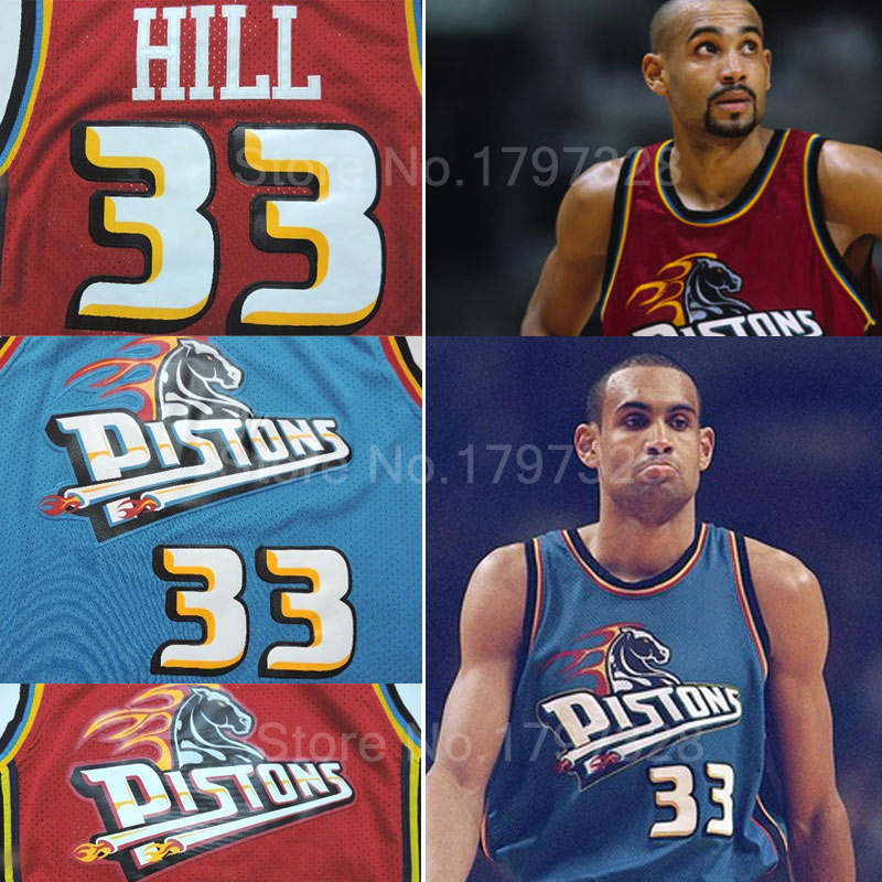 Free shipping pistons 33 grant hill retro basketball jersey hill green red embroidery logo jerseys rev30 brand size:s-xxl(China (Mainland))