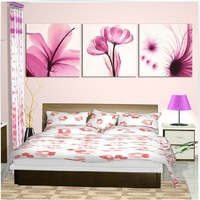 3PCS Pink Flower Wall Art For Bedroom Hand Painted  Modern Abstract Oil Painting On Canvas Home Decoration Art Gift  JYJATH013