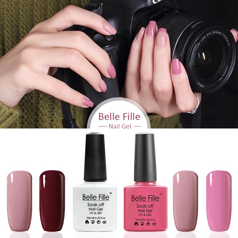 Belle Fille Nude Gel Nail Fingernail Polish Rose Red Wine Varnish for French Manicure Varnish Soak Off Yellow Color Gold UV Gel(China (Mainland))