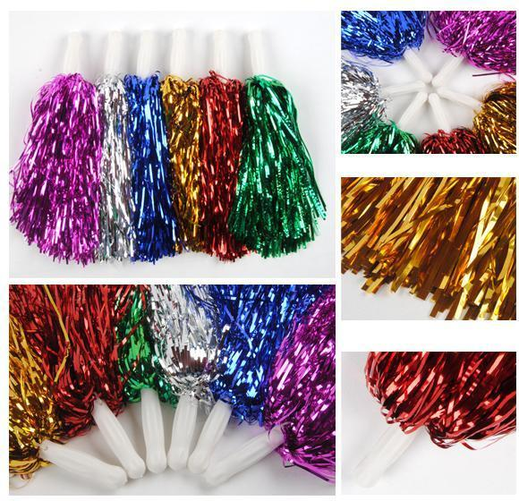 Free shipping,25G 24CM length red pink green blue PET Metallic cheerleading pom pom,sports dance cheerleader pom pom pompom 1pc(China (Mainland))