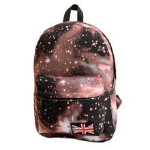 Fashion Women Stars Universe Space printing backpack School Book Backpacks British flag Stars bag free shipping