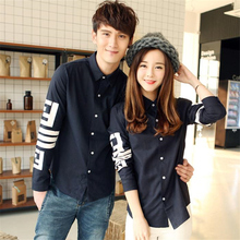 couples dress shirt Korean couple printed shirt sleeved men and women slim casual clothing class service students(China (Mainland))
