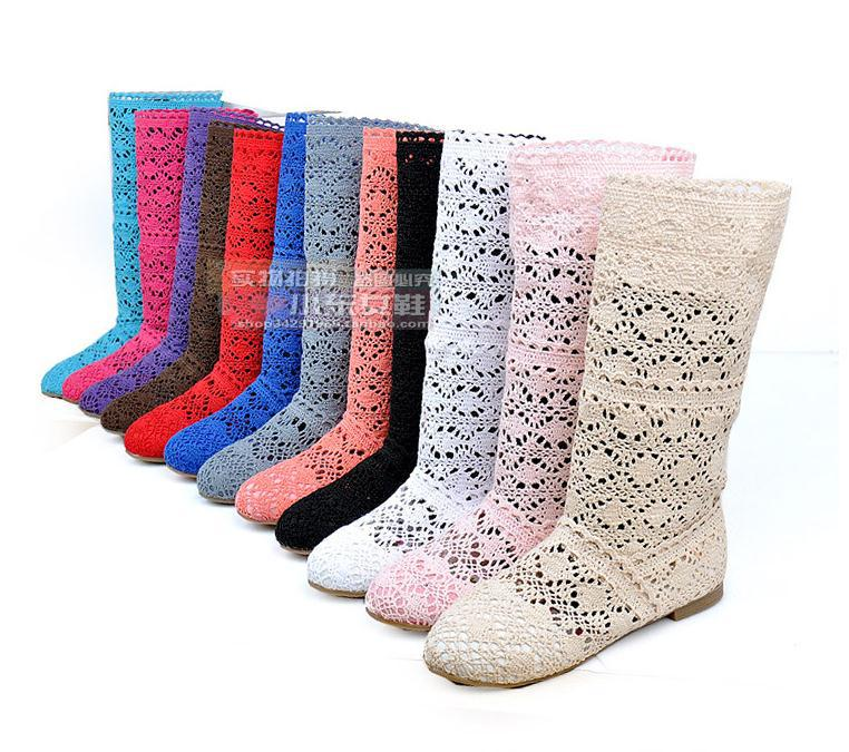Hot! 2016 Spring and summer fashion boots breathable hole female boots high-leg hole shoes knitted boots(China (Mainland))