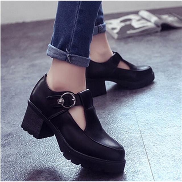 2015 весна осень высокие каблуки женщин квадратный каблук кожаные ботинки ретро т ...