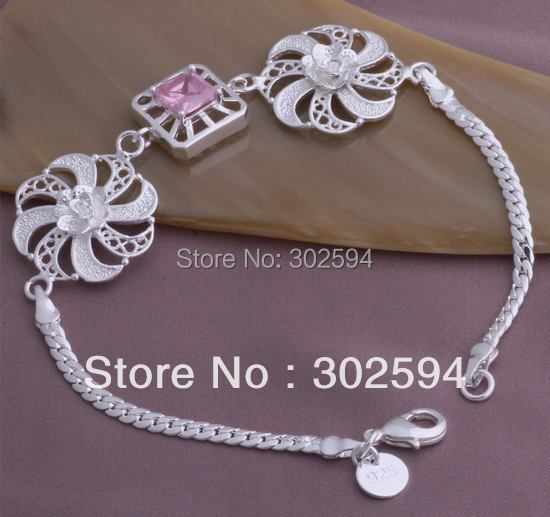 factory price wholesale YAB247 Beautiful fashion 925 silver charm crystal Round chain Men Bracelet best quality
