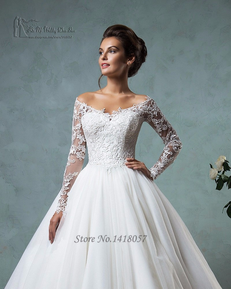 Buy hot sell white long sleeve lace for White off the shoulder wedding dress