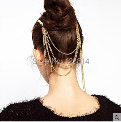Bohemia Fashion Women Wedding Hair Accessories Zinc Alloy Golden Color Hairpins Tassel Chain Lady Jewelry B017 - La Belle Boutique store