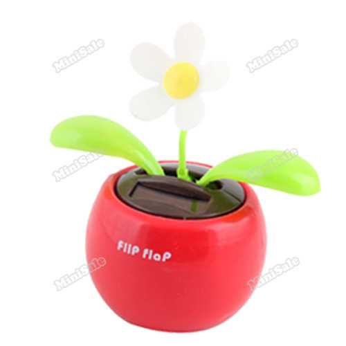 minisale Solar Powered Flip Flap Flower Cool Car Dancing Toys High Quality(China (Mainland))