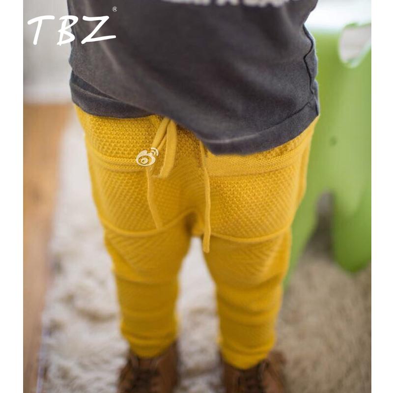 TBZ 2016 New Boys PP Pants Knitting Haroun Pants Boys Girls Printed Knitted Pants Baby Kids Toddlers Pants Cotton 3 Color Choses(China (Mainland))