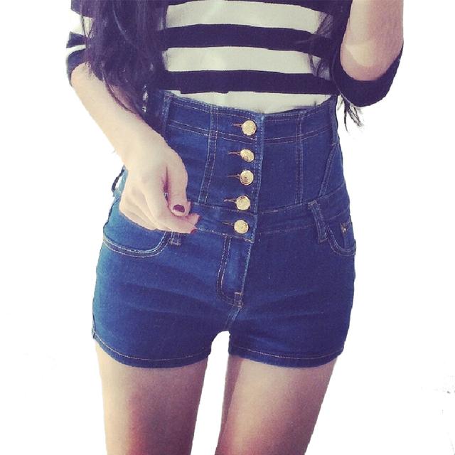Женщины высокой талией slim fit короткие джинсы джинсовые шорты тощие дамы сексуальные ...