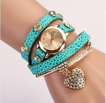 10 colors Hot sale 2015 Popular Women Girl Rhinestone Heart Pendant Rivet Litchi Leather Belt Analog Quartz Bracelet Wrist Watch(China (Mainland))