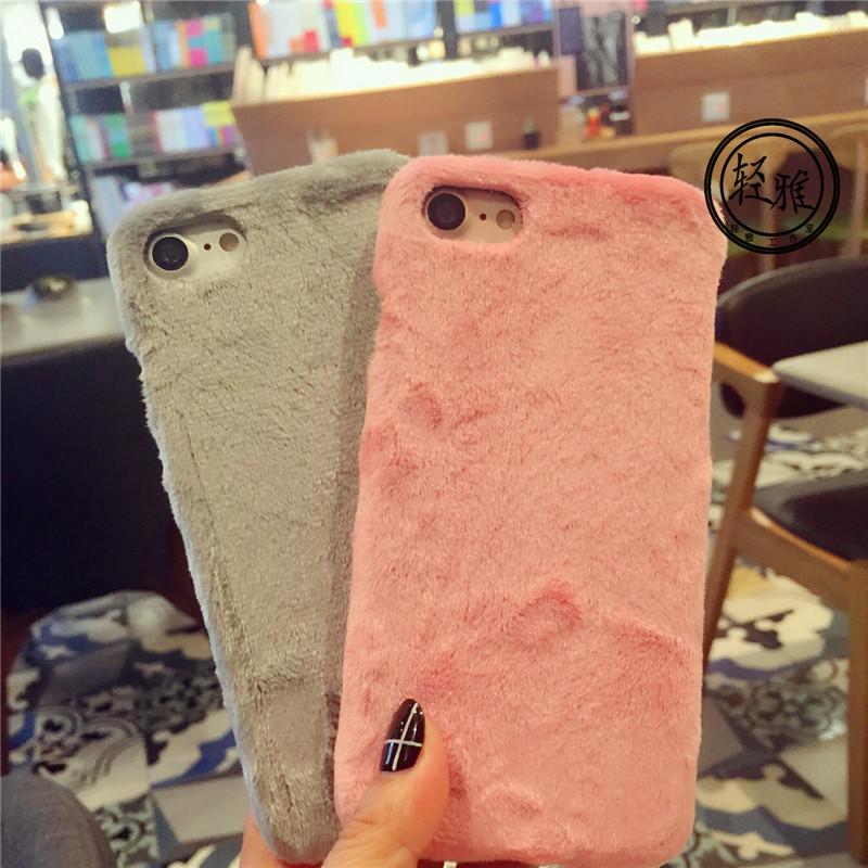 Hot! Luxury Warm Rabbit Fur Quality Cloth Plush Fundas Phone Case For Apple Iphone 6 6s 6Plus 7 7Plus Hard Back Cover Case Capa(China (Mainland))