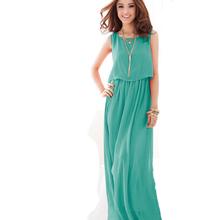 High quality Summer Women long flowing chiffon dress Lady bohemian beach romantic beach holiday dress 8 color wholesale agents