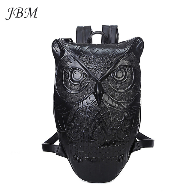 Black PU Leather Owl Backpack