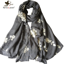 Vintage Style Flower embroidered Women Scarfs Oversized Long Pure Cotton Scarves Ladies Outdoor Casual Retro Shawls Foulard(China (Mainland))
