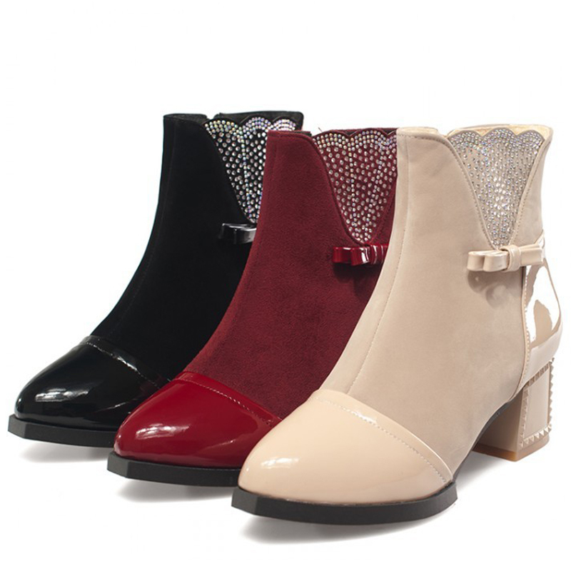 Plus Size 34-43 Boots for Woman 2016 Spring Autumn Winter Rhinestone Boots Martin Ankle Boots Women Motorcycle High Heels Boots(China (Mainland))