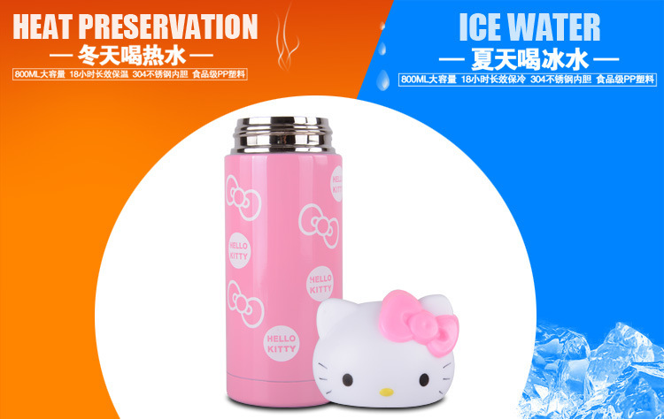 360ml 300ml Thermos Mug Insulated Travel Cups Stainless Steel Vacuum Cup for Office hello kitty pink red pattern(China (Mainland))