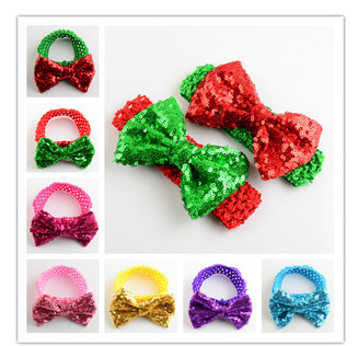 Children's hair accessories sequined big bow headband infant crochet baby headwrap for baby girl Christmas gift(China (Mainland))