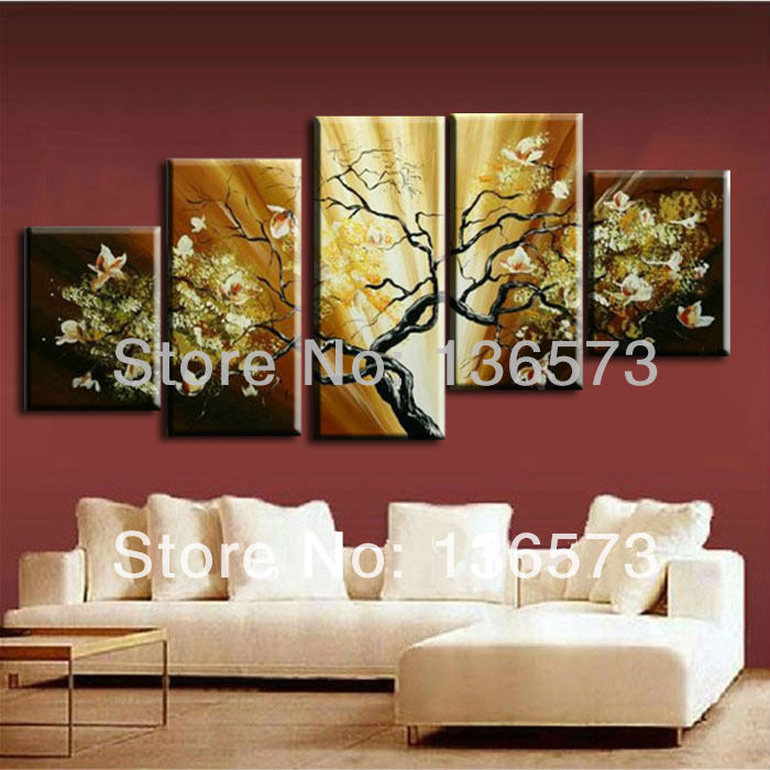 Hand painted flowers painting canvas modern abstract home decorative art landscape wall pictures living room Framed - Happy Love Decoration store