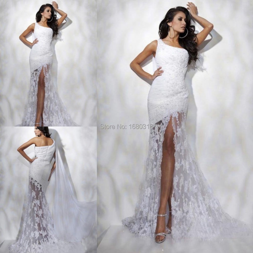 Cheap wedding dresses 2015 one shoulder lace bridal for Discount lace wedding dresses