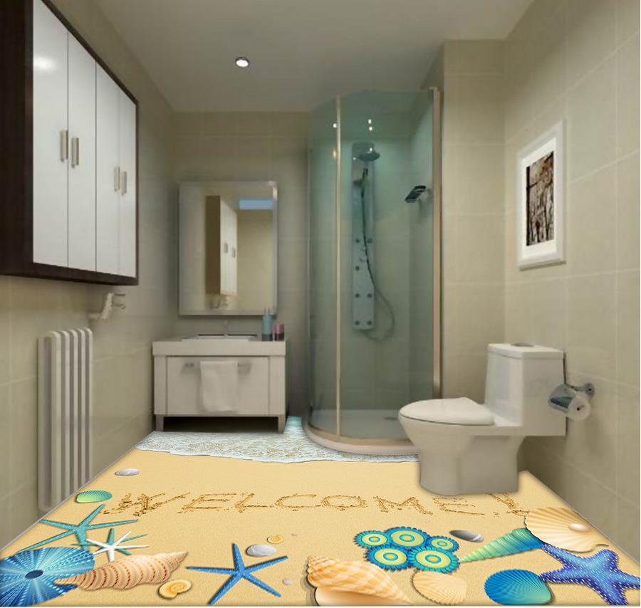 3d flooring wallpaper custom waterproof 3d pvc flooring for Bathroom 3d wallpaper